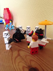 I find your lack of buns disturbing! (LynG67) Tags: lego stormtrooper minifigs darthvadar minifigures uploaded:by=flickrmobile flickriosapp:filter=nofilter