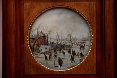 Hendrick AVERCAMP, Frozen river with skaters, 1620 (Ondra Havala) Tags: wood old trip art museum canon painting gallery budapest arts master fina frame hendrick pisture 40d avercamp szepmuveszeti