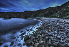 Misty Pebbles Cove (Gareth Wray - 13 Million Views, Thank You) Tags: ocean county ireland sunset red sea summer vacation irish sun mist holiday seascape motion beach nature misty fog set night strand reflections lens point landscape photography evening coast countryside site nikon rocks europe long exposure waves photographer slow angle cloudy dusk head horizon north wide scenic rocky landmark sealife visit pebbles tourist cliffs atlantic shore colourful nikkor scape gareth hdr donegal foreland wray gweedore strabane tonemapped oceanscape derrybeg 1024mm d5200