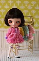 Flower Flared Coat for Blythe doll
