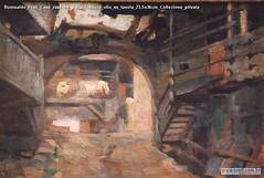 Romualdo Prati Case rustiche a Caldonazzo olio su tavola 23,5x36cm Collezione privata