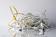 Wired For Sound! (BGDL) Tags: reflections fork wires tabletop odc niftyfifty tiedinknots nikond7000 bgdl lightroom5 nikkor50mm118g wirelessbutnotwireless