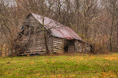 Log Barn (Dave Reasons) Tags: lighting abandoned barn spring log cloudy country overcast rustytop nelected deteration westlawrencecounty