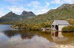 Dove Lake (jenni747) Tags: mountain lake nature clouds reflections australia tasmania boatshed bej the4elements