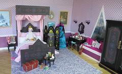 (15) Years Later-- Elsa's Coronation Day! (Foxy Belle) Tags: pink black window movie toy frozen miniature bedroom triangle doll purple princess ooak room disney queen norwegian elsa diorama dollhouse playscale