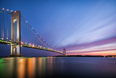 Verrazano Bridge Sunset (Towfiq Ahmed) Tags: nyc newyorkcity longexposure bridge sunset sky colors lines metal architecture brooklyn clouds photography lights nikon flickr structure tokina gothamist dslr ahmed verrazanobridge verrazano 1116 towfiq d7100 towfiqahmed
