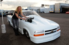 She's happy (Fast an' Bulbous) Tags: santa summer england woman hot sexy chevrolet girl car pits race speed truck drag evening pod nikon power diesel flash july gimp fast turbo chevy vehicle torque v8 turbocharged d7100 worldcars mopareuronats