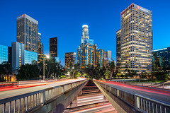 Not Picking A Side (Michael Muraz) Tags: 2017 ca california downtown losangeles northamerica usa world architecture cartrail city cityscape freeway highway lighttrail night nightphotography nightscape town