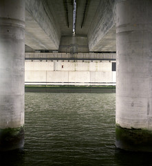 Under the bridge (Jorkew) Tags: kodak portra 160 mamiya rz67 sekor z 110mm 128 under bridge botlek brug rotterdam haven