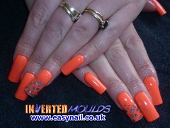 Ami Peach and Silver Glitter (invertednailsystems) Tags: pink orange black art beauty by glitter gold evans neon acrylic im lotus nail powder kerry nails step ami cheryl tips mold inverted hammond gel oconnor false ims invert extensions nailart moldes sunseekers powders moulds enuk easynailuk