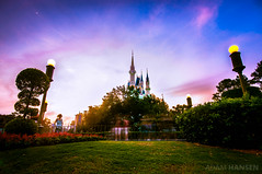 Approaching Cinderella Castle - Magic Kingdom (Adam Hansen) Tags: sunset orlando nikon florida disney adobe wdw waltdisneyworld magickingdom lightroom cinderellacastle d90