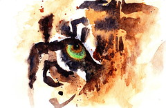 tiger eye (MFG512) Tags: wild orange white abstract color colour green eye art water beautiful up animal cat watercolor painting feline close zoom stripes tiger watercolour predator splatter