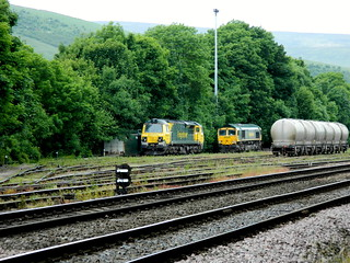 70011 & 66617 stabled at Earles sidings nr Hope on the Hope Valley Line, 23rd June 2013.