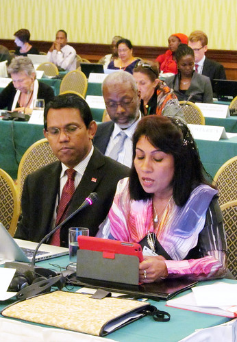 L-R: UN Amb. Ahmed Sareer, Maldives, and Mariyam Shakeela, Minister of Environment and Energy, Maldives
