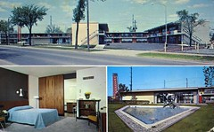 Cranbrook House Motel Detroit MI (Edge and corner wear) Tags: sculpture water fountain pool modern swimming vintage pc tv inn cola postcard modernism machine motel coke lodge chrome motor soda coca feature midcentury