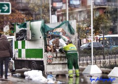 It's Finally Over!  Or is it? (Halcon122) Tags: madrid street color trash truck spain workers garbage afternoon candid strangers streetphotography rainy strike parked salamanca municipal sanitation plazacolon