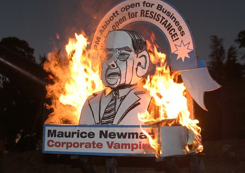 Effigy of Maurice Newman on fire - Eureka Dawn Vigil | Ballarat Dawn Vigil at Eureka 2013 IMG_6381