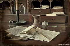 The Letter Writer's Desk (Trish Mayo) Tags: stilllife history pen ink writing desk historic textures letter quill dyckmanfarmhouse quillpen noncoloursincolour thebestofday gnneniyisi