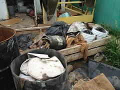 DRC Used frack socks strewm about