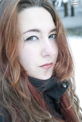 Northern comfort. (Kuolon Tanssi) Tags: blue winter portrait woman white selfportrait snow cold girl face self myself eyes autoportrait picture lips sight glance