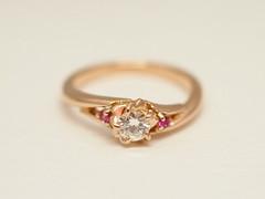 """桜の花&ピンクサファイアのエンゲージリング  """"Sakura Ring""""                         cherry blossom motif ring (jewelrycraft.kokura) Tags: diamond 桜 指輪 pinkgold sapphire ダイヤモンド k18 エンゲージリング ピンクゴールド ダイヤ オーダー ゆびわ オーダーメイド サファイア ピンクサファイア"""