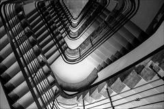 Vertigo: it's either Escher's way or the highway (lunaryuna) Tags: bw monochrome architecture stairs blackwhite vertigo staircase escher lunaryuna escheresque uncertainperspective