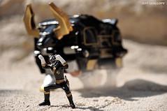 Go, Black! (Toy Photography Addict) Tags: toys actionfigure robots bandai powerrangers toyphotography blackranger toie clarkent78 jeffquillope gaorangers gaobull