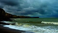Waves's song (KerKaya) Tags: blue seascape green clouds wind song wave cliffs fz200 kerkaya