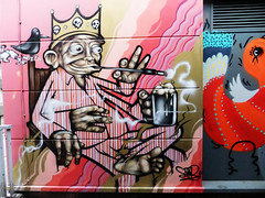 The Pyjama King (Viv Lynch) Tags: city uk england streetart southwest art festival bristol graffiti europe paint downtown unitedkingdom seenoevil british oldcity castlepark nelsonstreet 2011 sepr