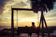 End of Another Day (justenoughfocus) Tags: ocean park trees sunset summer seascape beach grass clouds bench us unitedstates florida things palmtrees dunedin types locations gulfcoast landscapephotography