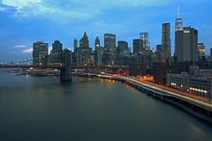 Gotham at dusk (Alexander Marte Reyes) Tags: newyorkcity longexposure sunset urban skyline landscape cityscape dusk manhattan brooklynbridge manhattanbridge bluehour gotham tamron lightstreak nikond750