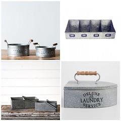 Galvanized Laundry Storage (Heath & the B.L.T. boys) Tags: galvanized bucket tray wood organize fake label words