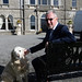 Proprietor Xavier McAulliffe and his dog Kelly pictured outside the Lyrath Estate Hotel during the IHF conference in Kilkenny on Tuesday.