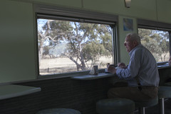 Overland Train (Josh Roach) Tags: old trip travel food man green car rural train carriage eating josh elderly adelaide roach southaustralia overland diningcarriage