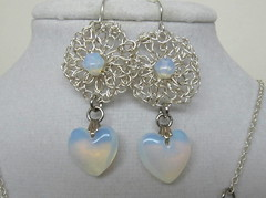 Sterling and Opalite Circle and Heart Earrings (cindycreativecrochet) Tags: wedding stone circle beads wire heart handmade unique oneofakind crochet jewelry canadian earrings saskatchewan opalite silverplate cindyscreativecrochet