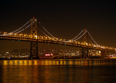 San Francisco, California - USA (Mic V.) Tags: ocean california ca city bridge usa water night america oakland bay us san francisco pacific united structure area pont states suspended nuit ocan pacifique
