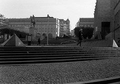 Small Pyramids (Spotmatix) Tags: street camera brussels urban film monochrome landscape effects iso100 belgium minolta streetphotography rangefinder places apx100 agfa