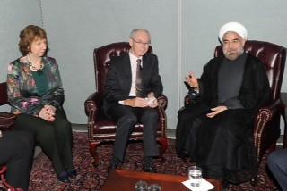 Catherine Ashton and Van Rompuy meet Iran President Rouhani