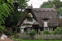 Quaint little cottage (Vicktrr) Tags: trees roof england fence garden countryside country cottage british houghton cambridgeshire thatched