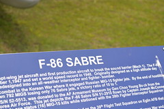 F-86F_Sign1 (AJ's Airplanes) Tags: sabre f86 northamerican eglinafb f86f airforcearmamentmuseum vision:sunset=0818 vision:sky=0839 vision:outdoor=0615