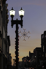 Snowflake Street Lamp (TK_Haines) Tags: snowflake christmas decorations sunset urban holiday downtown streetlamp christmaslights