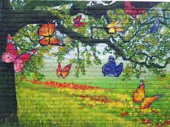 A piece of wonderland (Daniella Velings) Tags: forrest colourful butterflies butterfly eindhoven painting graffiti streetart wallart vlinders mural