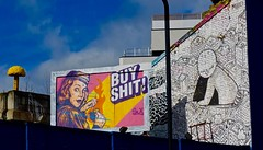 """020317 4 (Terterian - A million+ views, thanks.) Tags: london england capital city uk gb east end march 2017 shoreditch tower hamlets brick lane graffiti grafitti graffitti art street """" art"""" urban spraypaint painting print printing message freedom expression public colour talent promotion graphic design mural wall poster anonymous secret hidden contemporary creative artistic surreal imagination abstract mass communication social comment important idiom sony dscr100 black white advert advertisement buy shit vintage yellow mushroom"""