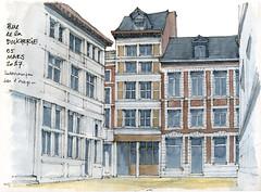Liège, rue de la Boucherie (gerard michel) Tags: belgium liège architecture rue sketch croquis aquarelle watercolour