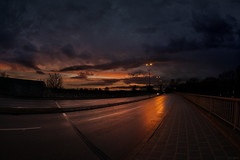 Sunset in the city (clé manuel) Tags: sunset city samyang 8mm fisheye f28 street reflection clouds sky night dark sony alpha 6000 a6000 photography light himmel wolken stadt sonnenuntergang nürnberg germany strase spiegelung weitwinkel