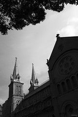 Notre Dame Saigon (-clicking-) Tags: blackandwhite bw church monochrome architecture landscape blackwhite catholic religion architectural vietnam saigon nocolors nhthcb vngcungthnhng
