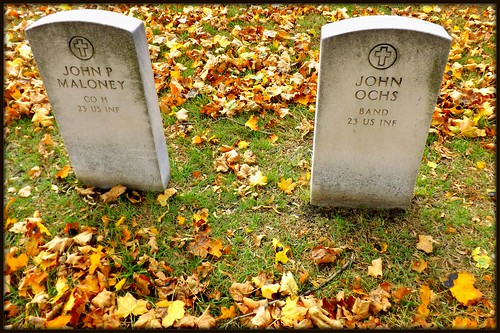 Woodmere Cemetery: Two Headstones, Members of 23rd US Infantry--Detroit MI