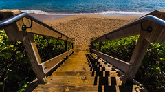 Stairway to the Sand, Maui (RMann88) Tags: ocean beach beautiful stairs landscape hawaii pacific maui hdr 918mm olympusomdem5