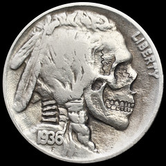buffalo skull #12 (Seth Basista Engraving) Tags: art halloween modern skull necklace carved seth coin coins jewelry engraving horror nickel nickels hobo engraved sculpted basista