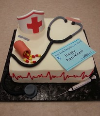 Nurse Cake (Edible Epiphanies) Tags: hat cake celebration needle syringe medicine nurse nursing stethoscope retirement rx fondant buttercream bandaids retirementcake fondantdecorations nursingcake